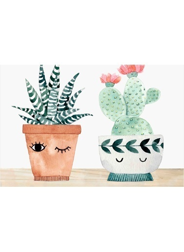 Soley Three Cactus  Djt. 40x60 Banyo Paspası Renkli